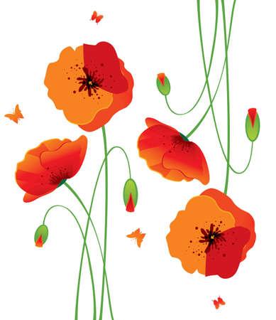 poppy field: Amapolas rojas traseras Vectores