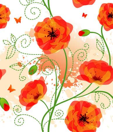 Seamless poppy pattern Vector