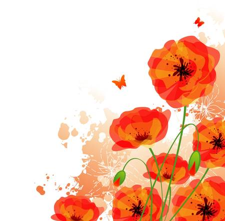 Red poppies back Illustration