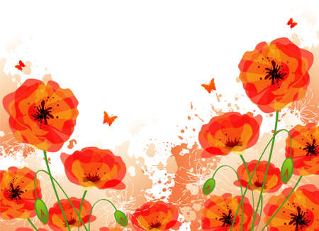 Red poppies back Stock Vector - 14867631