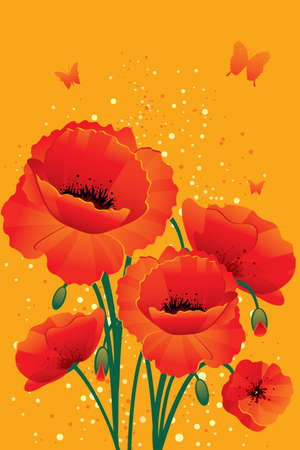Red poppies back Stock Vector - 14867443