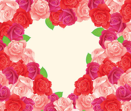 heart shaped leaves: Vector illustration of Background with beauty roses