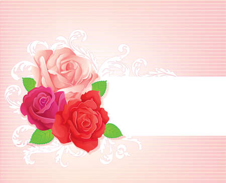 roses and hearts: Vector illustration of Background with beauty roses