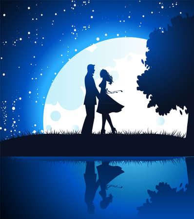 lovers in night Stock Vector - 14867434