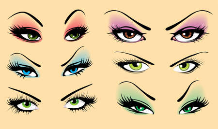 eyebrow makeup: Set di occhi Vettoriali
