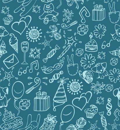 christmas cake: Happy birthday pattern Illustration