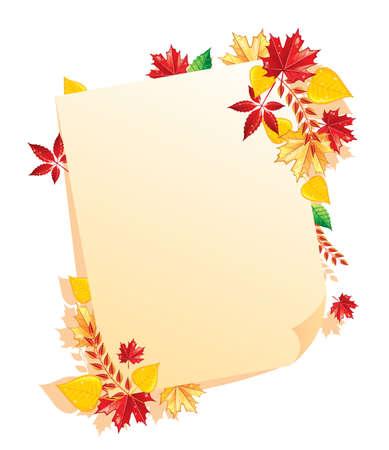 autumn leaf frame: Autumn Leafs espalda, ilustraci�n vectorial