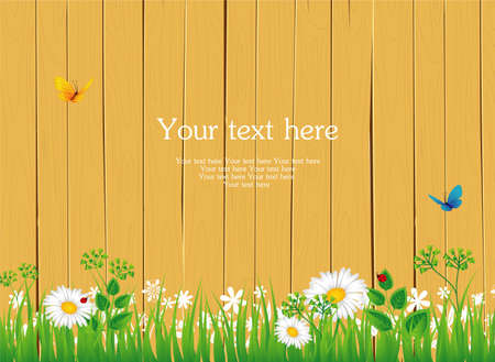 Vector illustration of wooden banner in the grass Vector