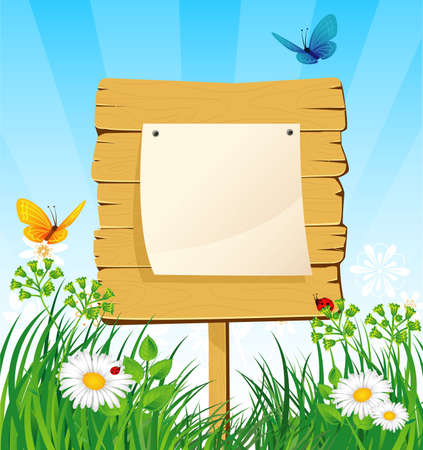 label frame: Vector illustration of wooden banner in the grass Illustration