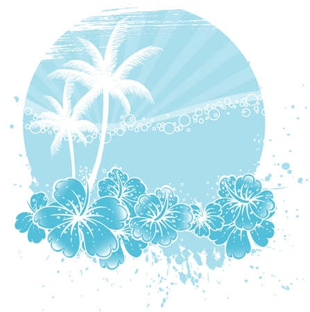 sunny beach: Vector illustration of Floral background Illustration