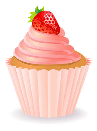 Cake with a strawberry Vector