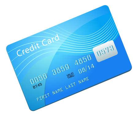 tarjeta visa: Vector ilustración de la tarjeta de crédito azul
