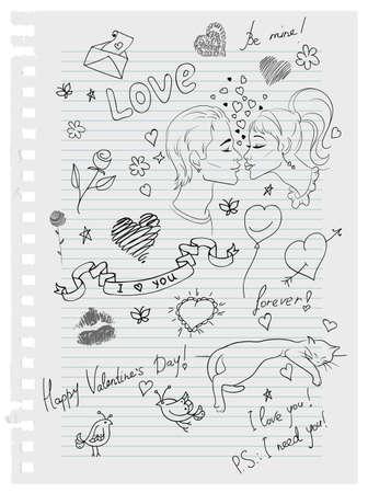 Hand-drawn love doodles Vector