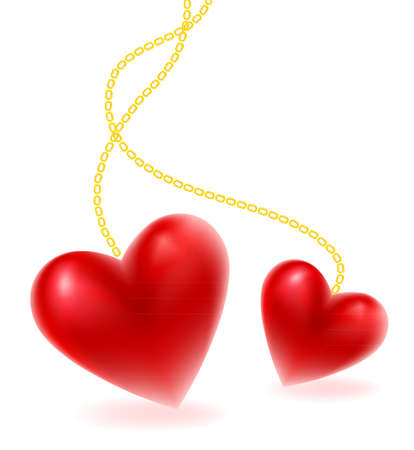wedding accessories: Hearts shape on chain, vector illustration