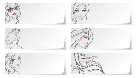 Vector illustration of Stickers girls Vector