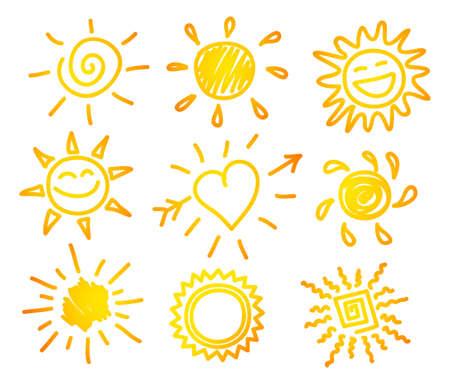 el sol: Ilustraci�n del vector de la mano dibujar puesta de sol Vectores