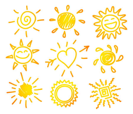 Ilustración del vector de la mano dibujar puesta de sol