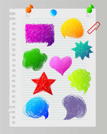 tacks: Vector illustration of Color hand drawn speech bubbles