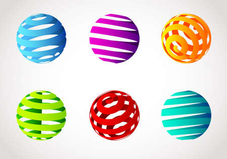 Vector illustration of Set of abstract spiral color sphere  Vector