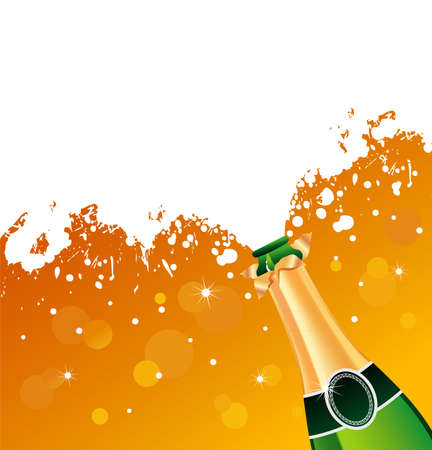 bang: Vector illustration of champagne