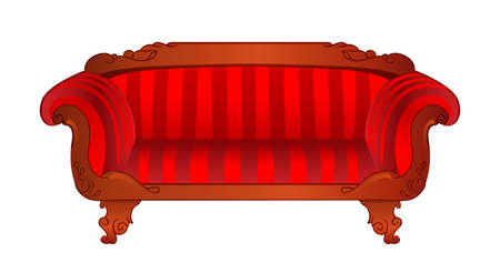 Vector red sofa isolated on white