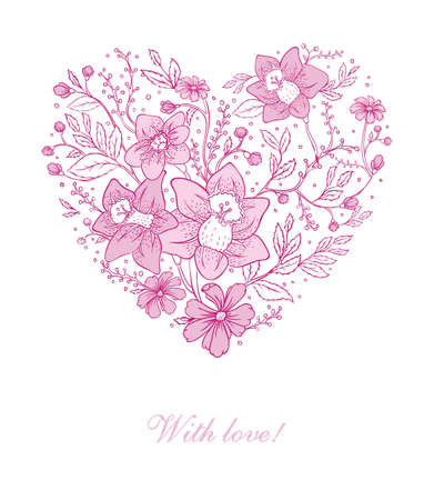 Vector illustration of Vector illustration of Floral heart Vector