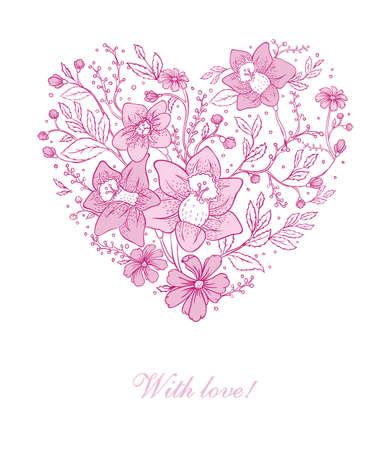 happy birthday heart shapes: Vector illustration of Vector illustration of Floral heart Illustration