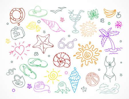 single line: Vector illustration of  Travel doodles set