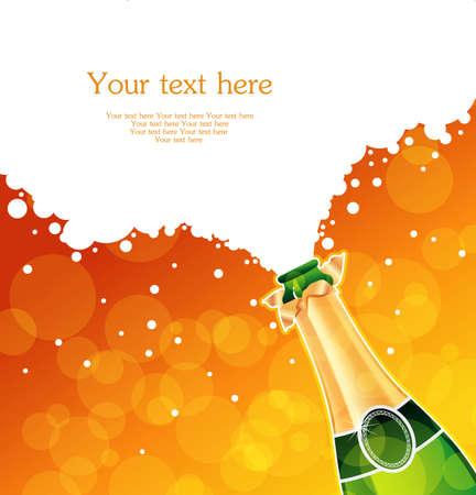 botella champagne: Ilustraci�n vectorial de champ�n Vectores