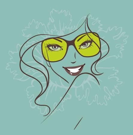 fashion bril: Vector illustratie van Schoonheid florale vrouw