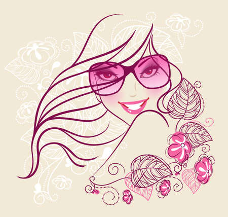 sensuality: Vector illustration of Beauty floral woman