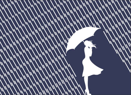 Rain and wind, women with umbrella Stock Vector - 15229752