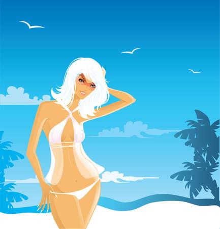 Summer woman in swimsuit Vector