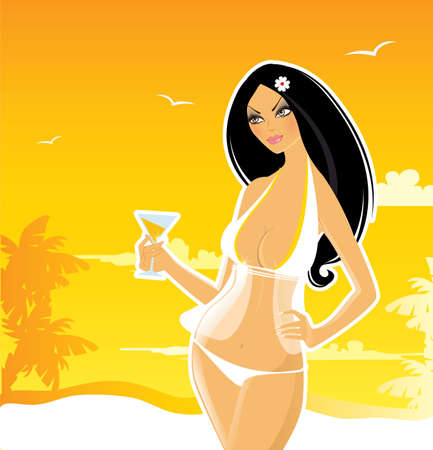 Summer woman in swimsuit Vector