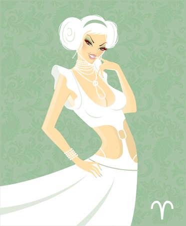 Beautiful girl in white dress - zodiac signs Stock Vector - 15230978