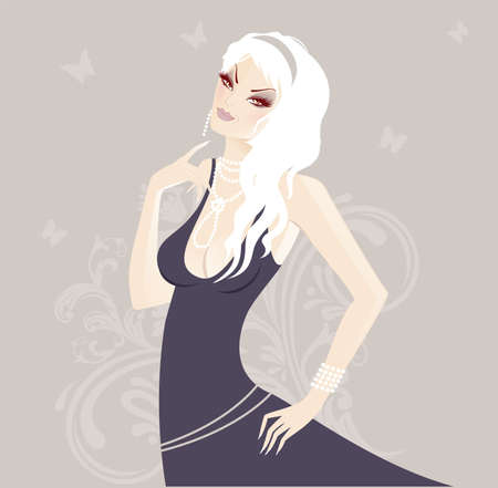 Beauty floral woman Vector