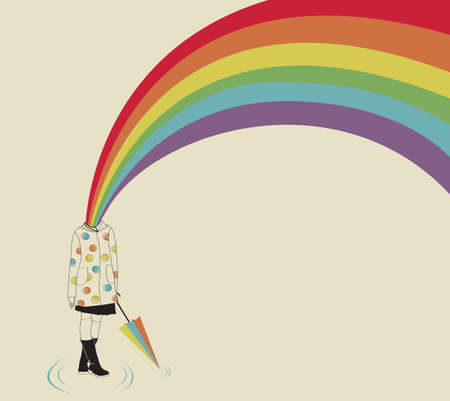 Girl and Rainbow Vector