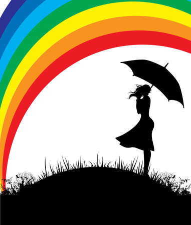 Women with umbrella and color rainbow Vector