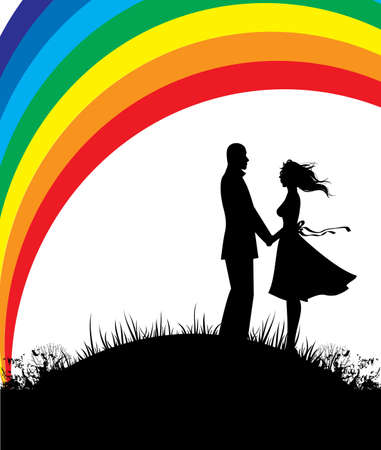 Man and woman, color rainbow Stock Vector - 15229910