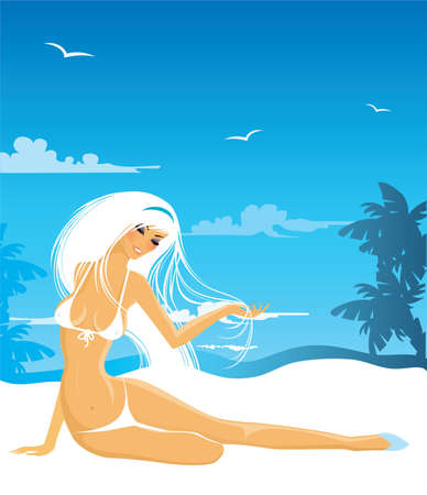 Vector illustration of Summer background with woman Vector