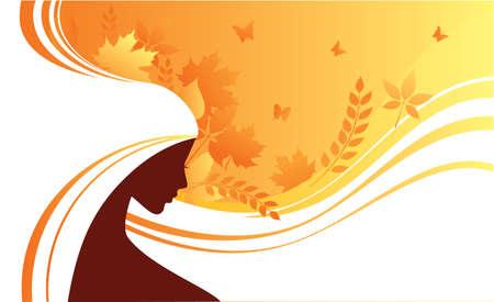 yellow hair: Elegant autumn girl
