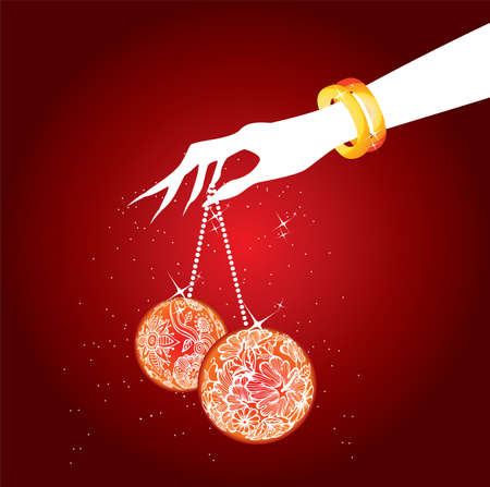 showgirl: Women s hand with christmas balls