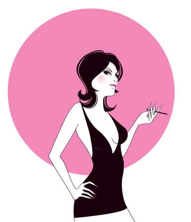 chica fumando: Hermosa chica de fumar
