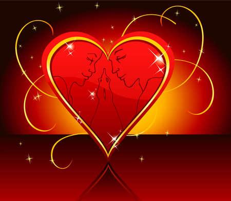 Ilustración vectorial de Kissing pareja