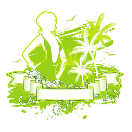 bikini island: Vector illustration of Summer background with woman
