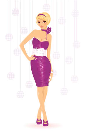 sexy woman disco: Vector illustration of Sexy girl