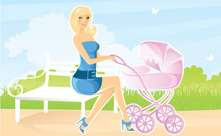 Women with pram Vector