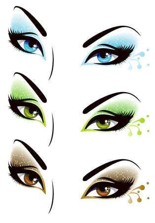 brown eyes: Set of eyes Illustration