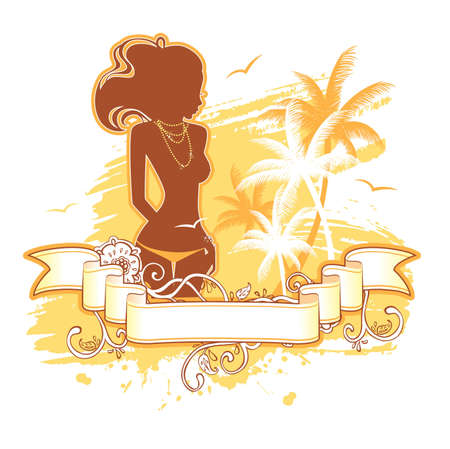 illustration of Summer background with woman Stock Vector - 15223706