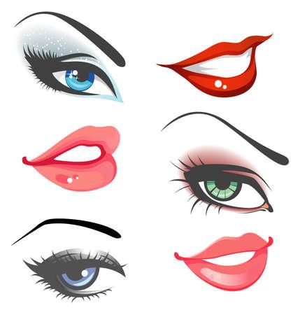 Lips   eyes set Vector